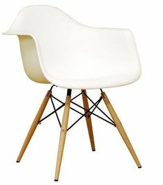 Molded Plastic Armchair with Dowel Leg Base -White by AID. $145.00. Extremely comfortable and timeless chair. Authentic quality reproduction. Ergonomically-shaped and curved seat. Wooden dowel legs. Steel hardware with black coating. The Molded Plastic Armchair with Dowel Leg Base consists of a clean, simple form sculpted to fit the body. The wooden dowel legs give the molded plastic chair a softer feel, yet the metal rods connecting the legs hint at the geometric form tha...