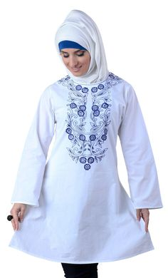 This fabulous cotton White kurti is a creation that will take one's breath away. And when worn with a white hijaab an Afraan Kurti such as this can truly mesmerize as much as it can bedazzle.