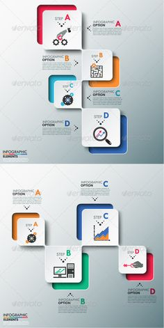 Modern Infographics Process (2 Versions) Vector Template #design #presentation Download: http://graphicriver.net/item/modern-infographics-process-template-2-versions/8463372?ref=ksioks