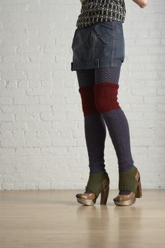 Color Block Thigh Highs in Lion Brand Wool-Ease - ♥70719AD