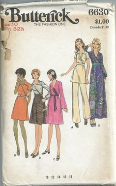 Butterick Sewing Pattern Vintage 6630 Womans Dress Tunic Pants