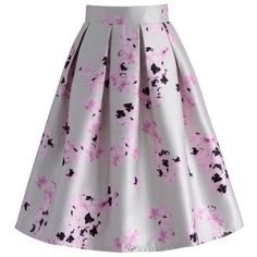 Chicwish Lilac Rain Printed Pleated Skirt ($42) ❤ liked on Polyvore featuring skirts, white, floral printed skirt, lilac skirt, crop skirt, white knee length skirt and floral print skirt