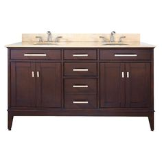 Avanity Madison Tobacco Double Sink Bathroom Vanity with Beige Natural Marble Top at Lowe's. The Madison 61 in. vanity combines function with style. The vanity is designed with strong attractive lines and finished in tobacco with old bronze 60 Inch Vanity, 60 Vanity, Bathroom Vanity Base, Double Sink Vanity, Marble Vanity Tops, Vanity Cabinet, Bathroom Vanity Lighting, Marble Top, Master Bathroom