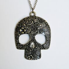 Sugar Skull Necklace by Miss Atomic  Large  FREE by MissAtomicShop