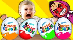 BAD BABY Crying And Learn Colors with GIANT Kinder Surprise Eggs - Finge...