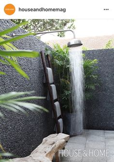 Add an outdoor shower. A refreshing addition to a tropical home or lakeside cottage, an outdoor shower is also practical, keeping sand out of living spaces. Add wooden seating and potted plants for a super luxe effect. Outside Showers, Outdoor Showers, Jardin Luxuriant, Outdoor Shower Enclosure, Garden Shower, Outdoor Bathrooms, Tropical Houses, Celebrity Houses, Shower Heads