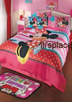 Twin, Full size Girls Disney Minnie Mouse Love Comforter Set  #Disney