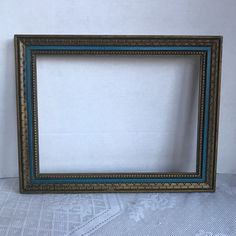 Vintage Wood Decorative Picture Frame / Carved Blue and Gold Wooden 9 X 12 Inch Frame by vintagepoetic on Etsy