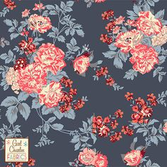 "Coral Peach Floral on Slate Blue Cotton Jersey Blend Knit Fabric - A Girl Charlee Collection Exclusive!  Amazing colors of peach, coral pink, cream, mocha, burgundy flowers and roses on a pretty slate blue gray background cotton jersey blend knit.  Fabric has a very smooth hand, good stretch, and is light to mid weight.  Largest rose flower measures 1 1/8"".  A versatile fabric perfect for many uses.  Made in Los Angeles!  ::  $6.50"