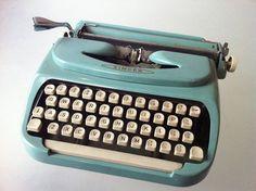 Stunning Singer Turquoise Vintage Typewriter Made in Holland Collectible