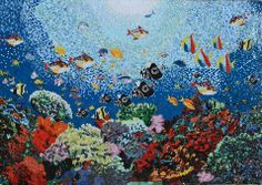 SPARKLY  GLASS MOSAIC MURAL  UNDER THE SEA FISH, CORAL for the pool
