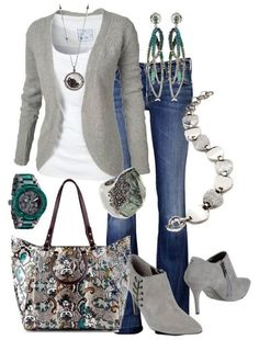 Love this grey on grey combo: accessories are the key