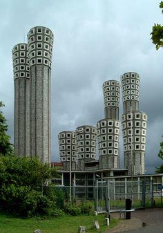 1957Ventilation Building | Architect: Dirk Roosenburg | Velsertunnel, Velsen, Netherlands | Photo: Klaas Vermaas - Via