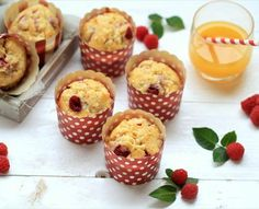 Muffins de chocolate blanco y frambuesas