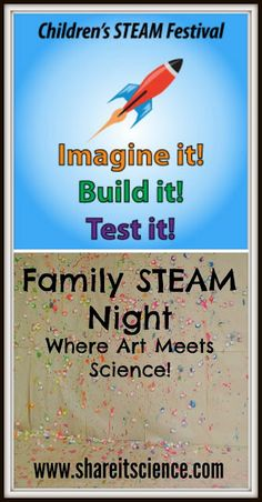 Children's STEAM Festival: Family STEAM Night- Where Art Meets Science. Lots of STEM activities infused with art- catapult painting, marble run building, DNA models, bubble painting and more!