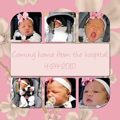 Coming home from the hospital scrapbook page
