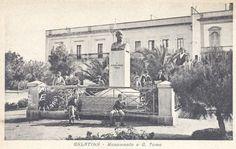 1943 GALATINA Lecce, ITALIA - monumento a G.Toma - BiancoENero, BlackWhite, BN, BW, cartolina, Galatina, ingrandimenti, monumento, vintage