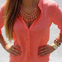 Coral Sheer Button Up. Teen Fashion. By-Iheartfashion14   →follow←