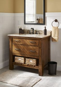 Get the bath design you've always wanted. Affordable upgrades like this rich mocha vanity and classic subway tile can instantly transform your bathroom.