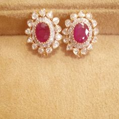 Ruby diamonds and Polki earings In gold Gold Bangles Design, Gold Earrings Designs, Necklace Designs, Jewelry Design, Ruby Earrings, Small Earrings, Kalamkari Tops, Coral Design, Fashion Jewelry