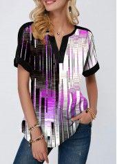 Women'S Multi Color Geometric Print Curved Hem Tunic Blouse Split Neck Short Sleeve Casual Top By Rosewe Notch Neck Curved Hem Geometric Print Blouse Trendy Tops For Women, Stylish Tops, Blouses For Women, Geometric Sleeve, Look Fashion, Fashion Clothes, Trendy Fashion, Clothes Women, Printed Blouse