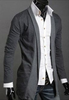 Trendy Korean style Men long cardigan.