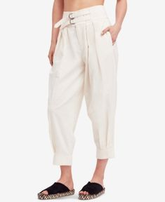 Free People Double-Buckle Soft Pants - Ivory/Cream 10