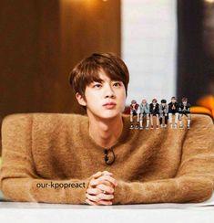 """Seokjin's broad shoulders. """"I ask not for a lighter burden, but for broader shoulders"""" Bts Funny Videos, Bts Memes Hilarious, Bts Meme Faces, Funny Faces, Foto Bts, Bts Jin, Bts Jungkook, Seokjin, K Pop"""