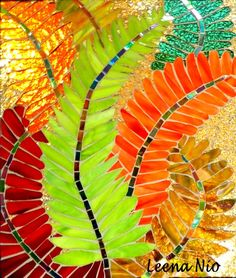 Mosaic Ferns by Leena Nio Paper Mosaic, Mosaic Crafts, Mosaic Projects, Mosaic Art, Mosaic Glass, Mosaic Tiles, Fused Glass, Mosaic Designs, Mosaic Patterns