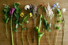 今回は、こちらの花を飾ります 左から、マトリカリア、カラー、ヒペリカム、パンジー、ダリア、ライラック、チューリップ、千日紅、アスチルベ、デルフィニウム、モルセラ、ラナンキュラス どれも春らしく、1種ではもちろん、組み合わせても相性の良い花たちです