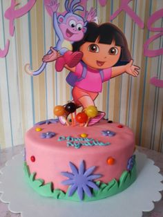 Simple and cute Dora cake