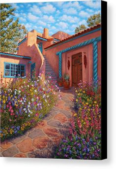 Courtyard Garden In Taos Art Print by Johanna Girard. All prints are professionally printed, packaged, and shipped within 3 - 4 business days. Choose from multiple sizes and hundreds of frame and mat options. Southwest Decor, Southwest Style, Southwestern Paintings, New Mexico Style, New Mexico Homes, Mexican Home Decor, Adobe House, Santa Fe Style, Spanish Style Homes