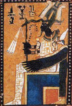 """Osiris, le roi momifié, est le souverain du monde de l'au-delà & le juge suprême des lois de Maât. Il est coiffé de la couronne Atef, et porte le sceptre Ouas, représentant la puissance divine, et les attributs de la royauté : la houlette Héqa & le flagellum Nekhekh - Extrait du """"Livre des morts"""" des anciens Égyptiens."""