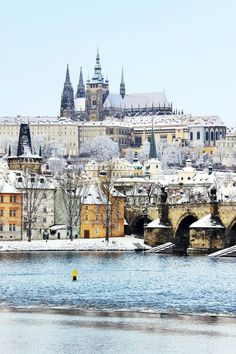 """travel-photos-hze: """" Snowy Prague gothic Castle with the Charles Bridge, Czech Republic """" Places Around The World, Oh The Places You'll Go, Travel Around The World, Places To Travel, Places To Visit, Around The Worlds, Week End En Amoureux, Gothic Castle, Voyage Europe"""
