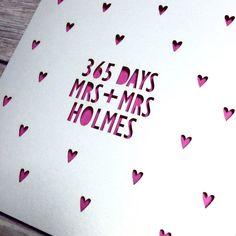 Same Sex 1st Anniversary Card, 365 days, Lasercut Card, Personalised Anniversary Card, Mr & Mr Card, 1st Anniversary Gift, Gay Anniversary
