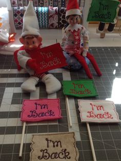 Hey, I found this really awesome Etsy listing at https://www.etsy.com/listing/211510633/elf-on-the-shelf-im-back-signs