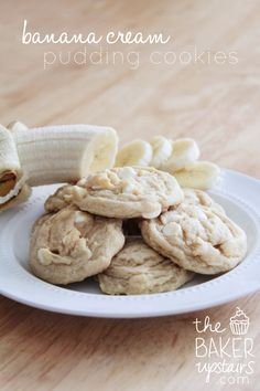 the baker upstairs Banana Cream Pudding Cookies adapted from Chef in Training  1 1/2 sticks (or 3/4 cup) butter 3/4 cup brown sugar 1/4 cup sugar 1 (3.4 oz) package instant banana cream pudding 2 eggs 1 tsp vanilla 1 tsp baking soda 2-1/4 cups flour 1 cup white chocolate chips