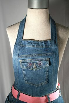 Upcycled Womens' Kitchen Apron Made with Denim Blue Jeans, with pink sash tie, Mother's Day