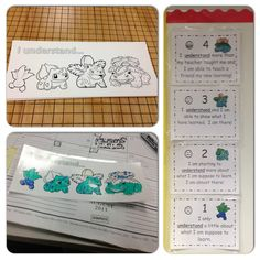 Pokemon investment plan; laminate and have kids color their level of understanding! :)