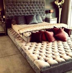 DIY: Eternity bed. A bed can never be big enough for all the pets and kids that may wander into your bedroom at night. This is a great headb...