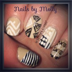 Nude, black & white tribal nail art design