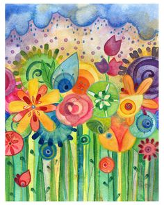 Bring me Flowers - Lauren Alexander - cheerful and innocent spring watercolor