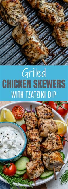 Grilled Chicken Skewers + Homemade Tzatziki are BBQ Perfection! - Grilled Chicken Skewers + Homemade Tzatziki are BBQ Perfection! Healthy Chicken Recipes, Clean Eating Recipes, Healthy Eating, Healthy Nutrition, Eating Fast, Shrimp Recipes, Healthy Drinks, Grilling Recipes, Cooking Recipes