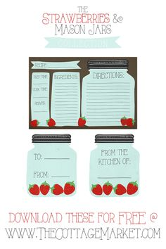 FREE Printable Mason Jar Recipe Cards and Matching Gift Tags