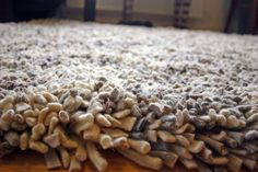 """""""Second Life Rugs"""" converts wool production residues into beautifully patterned, thick, shag-pile rugs. Instead of being spun and dyed, the wool scraps are boiled, shredded and knotted.     Read more: Second Life Rugs Turns Factory Residue Wools Into Beautiful High-Pile Rugs   Inhabitat - Sustainable Design Innovation, Eco Architecture, Green Building"""