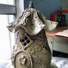 Tall Garden Fairy House - Home PagePaper Clay and soda bottle Fairy HouseNo photo description available.Idea for a gourd Clay Fairy House, Fairy Garden Houses, Fairy Gardening, Gnome House, Garden Cottage, Clay Houses, Ceramic Houses, Pottery Houses, Slab Pottery
