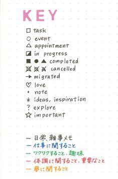 これだけは覚えちゃったほうがやりやすい Journal Notebook, Journal Pages, Bujo Key, Bullet Journal Lists, Planner Tips, Journal Design, Bullet Journal Inspiration, Love Notes, Lettering Design