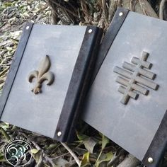 Hand crafted journal files with personalized sigils, leather spine and brass pins. Custom order for a client we just finished. www.bellsbooksandbaubles.co.za It Is Finished, Brass, Journal, Gallery, Shop, Leather, Roof Rack, Store, Rice