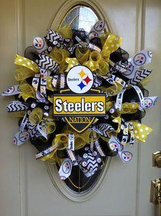 Steeler wreath, Steeler deco mesh wreath, steeler ribbon, Steeler football, football wreath, summer wreath, pittsburgh wreath, mesh steeler