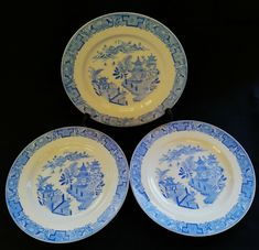 Willow Pattern, Vintage Tableware, Blue Plates, Worcester, Free Delivery, 1930s, Decorative Plates, Blue And White, Antiques